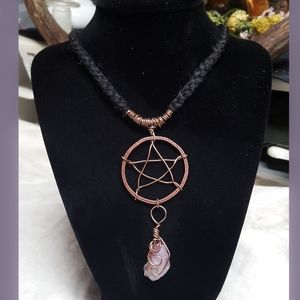 Rose Quartz & Pentacle wire wrapped necklace